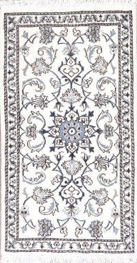 White Floral Nain Persian Wool Rug 2x4
