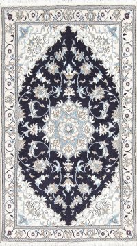 Charcoal Floral Nain Persian Area Rug 4X7