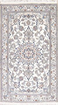 Ivory Floral Nain Persian Area Rug 4x7
