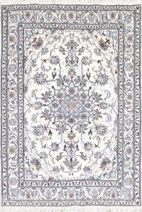 Ivory Floral Nain Persian Area Rug 5x8