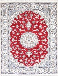 Red Floral Nain Persian Area Rug 6x7