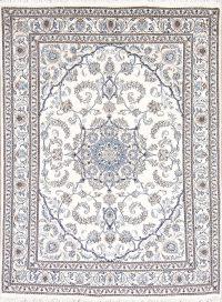 Ivory Floral Nain Persian Area Rug 5x7