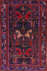 Black Geometric Bakhtiari Persian Area Rug 4x7