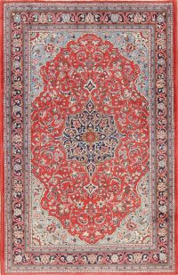 Red Floral Sarouk Persian Area Rug 5x7