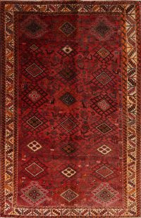 Red Geometric Bakhtiari Persian Area Rug 6x9