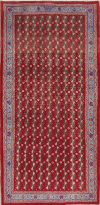 Red Geometric Ardebil Persian Runner Rug 4x8