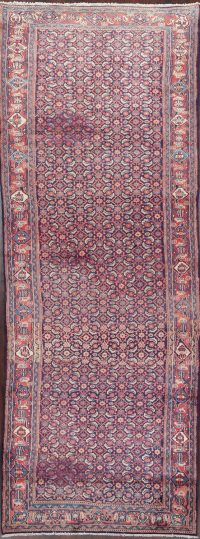All-Over Blue Sarouk Persian Runner Rug 3x14