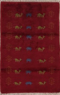 Red Tribal Gabbeh Persian Wool Rug 3x4