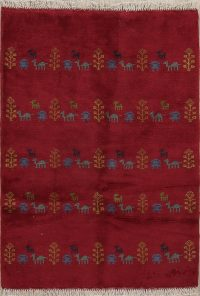 Red Tribal Gabbeh Shiraz Persian Wool Rug 3x4