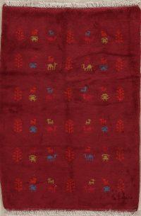 Red Tribal Gabbeh Shiraz Persian Wool Rug 3x5