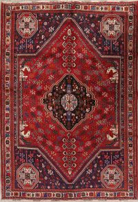 Red Geometric Abadeh Persian Area Rug 7x9