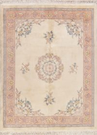 Beige Floral Art Deco Chinese Oriental Area Rug 8x10