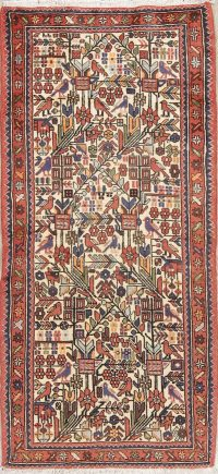 Ivory Geometric Nahavand Hamedan Persian Runner Rug 3x6