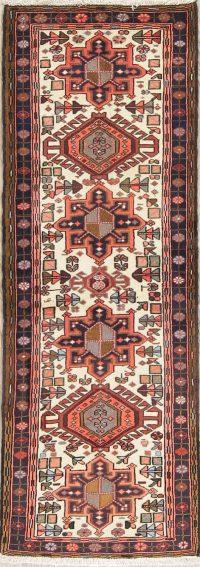 Ivory Geometric Gharajeh Persian Runner Rug 2x7