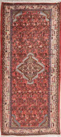 Red Geometric Hamedan Persian Runner Rug 3x6