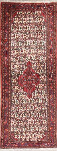 Ivory Geometric Hamedan Persian Runner Rug 3x7