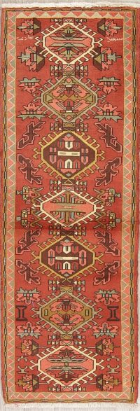Red Geometric Heriz Persian Runner Rug 2x6