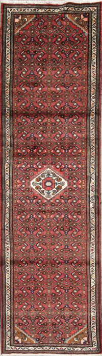 Red Geometric Hamedan Persian Runner Rug 3x10