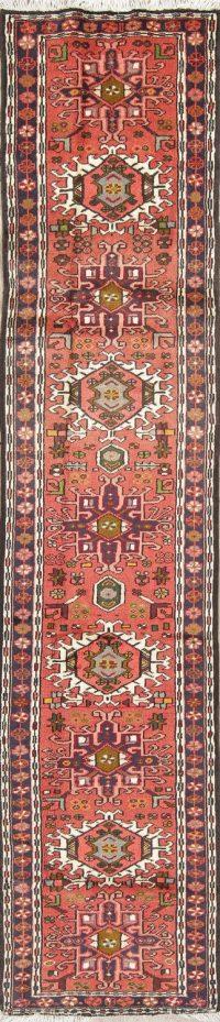 Tribal Geometric Gharajeh Persian Runner Rug 2x10