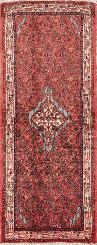 Red Geometric Hamedan Persian Runner Rug 3x7