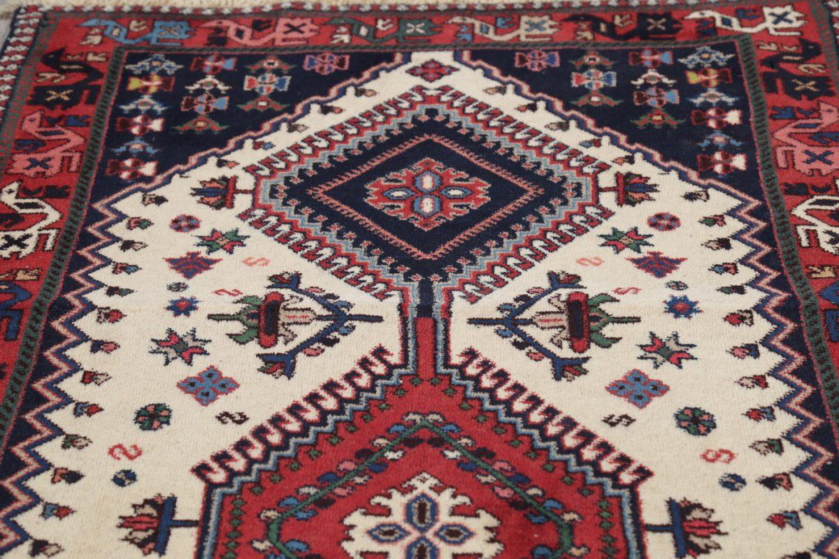 Ivory Geometric Yalameh Persian Runner Rug 3x7