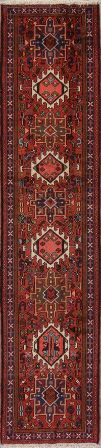 Red Geometric Gharajeh Persian Runner Rug 3x9