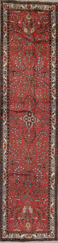 Red Floral Hamedan Persian Runner Rug 3x11