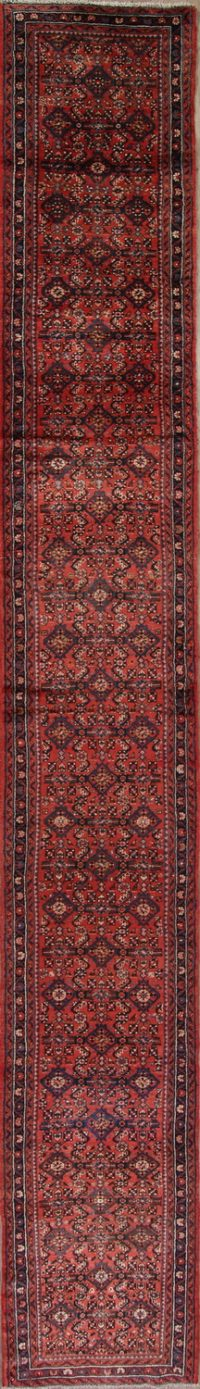 Red Geometric Hamedan Persian Runner Rug 3x19