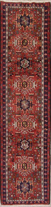 Red Geometric Gharajeh Persian Runner Rug 2x8