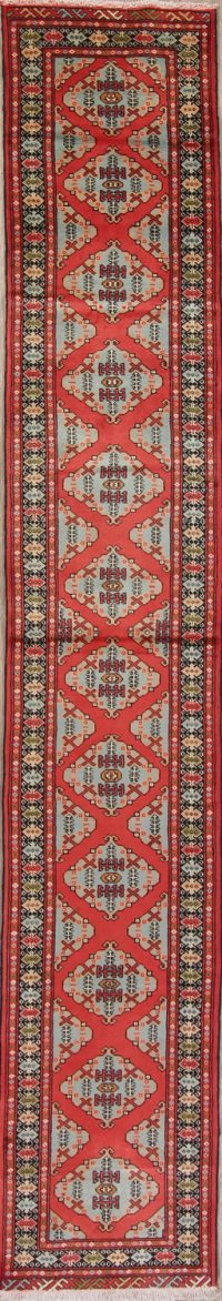 Red Geometric Kazak Persian Runner Rug 2x12