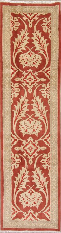 Rust Floral Oushak Persian Runner Rug 3x10