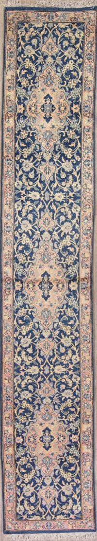 Blue Floral Sarouk Persian Runner Rug 2x10
