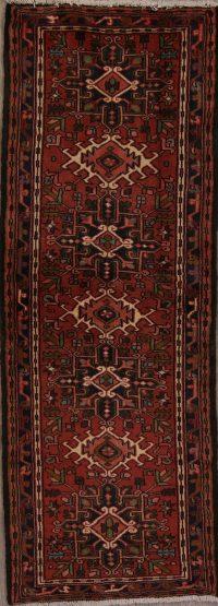Red Geometric Gharajeh Persian Runner Rug 2x7