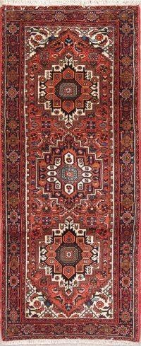 Red Geometric Bidjar Persian Runner Rug 2x5