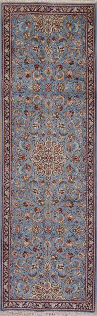 Blue Floral Kashan Persian Runner Rug 3x10