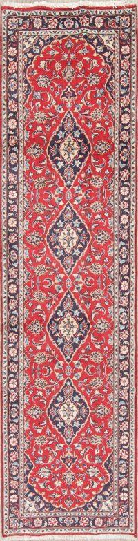Red Floral Kashan Persian Runner Rug 2x10