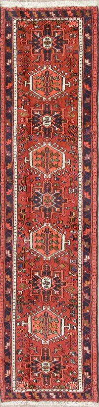Red Geometric Gharajeh Persian Runner Rug 2x10