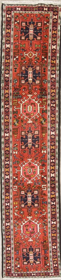 Red Geometric Gharajeh Persian Runner Rug 2x10