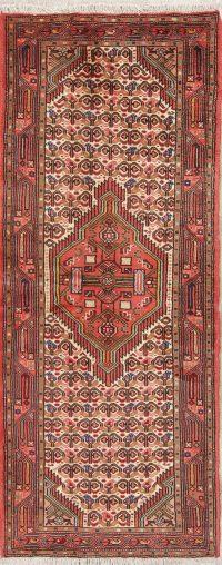 Hand-Knotted Geometric Hamedan Persian Runner Rug 3x7
