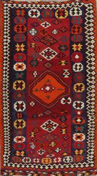 Geometric Red Kilim Qashqai Persian Hand-Knotted Area Rug Wool 5x9