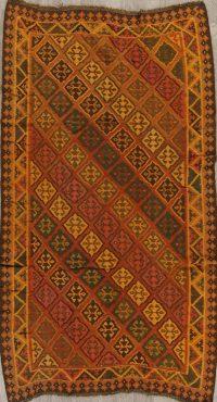 Geometric Rust Kilim Qashqai Persian Hand-Knotted Area Rug Wool 5x9