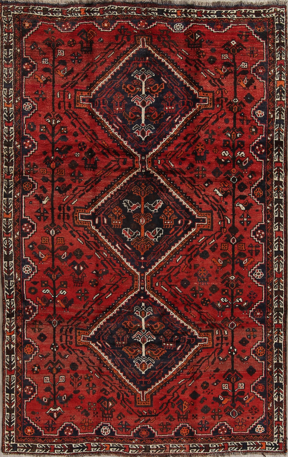 Red Tribal Geometric Shiraz Persian Area Rug 6x9