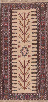 Beige Geometric Kilim Shiraz Persian Runner Rug 3x6