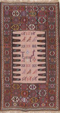 Tribal Geometric Kilim Shiraz Persian Area Rug 3x6