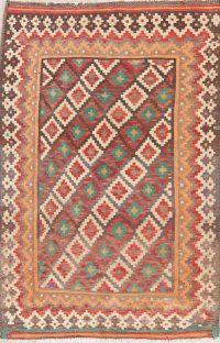 Brown Geometric Kilim Shiraz Persian Area Rug 4x6