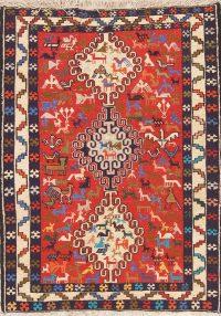 Red Tribal Geometric Kilim Shiraz Persian Wool Rug 3x5
