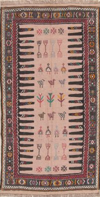 Tribal Geometric Kilim Shiraz Persian Runner Rug 3x6