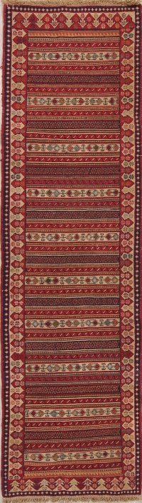 Hand-Woven Geometric Kilim Shiraz Persian Runner Rug Wool 3x9