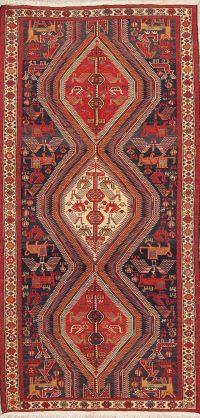 Hand-Woven Tribal Kilim Shiraz Persian Runner Rug Wool 4x8