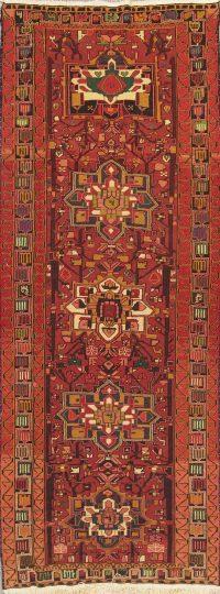 Hand-Woven Geometric Kilim Shiraz Persian Runner Rug Wool 4x11